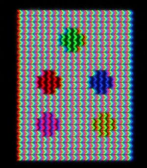 طرح پیکسل در LCD ها S-IPS به این صورت می باشد .حالت مخلوطی شکل باعث ایجاد زاویه دید وسیعتری میشود